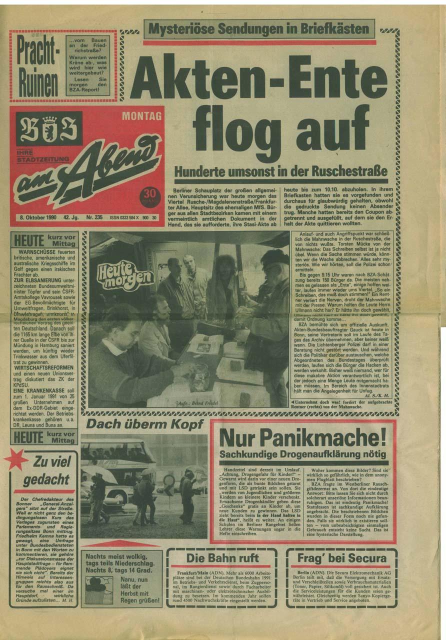 Die Akten-Ente flog auf! Für die Berliner Zeitung am Abend war die Aktion mit dem Formular ein großer Aufmacher. Quelle: privat