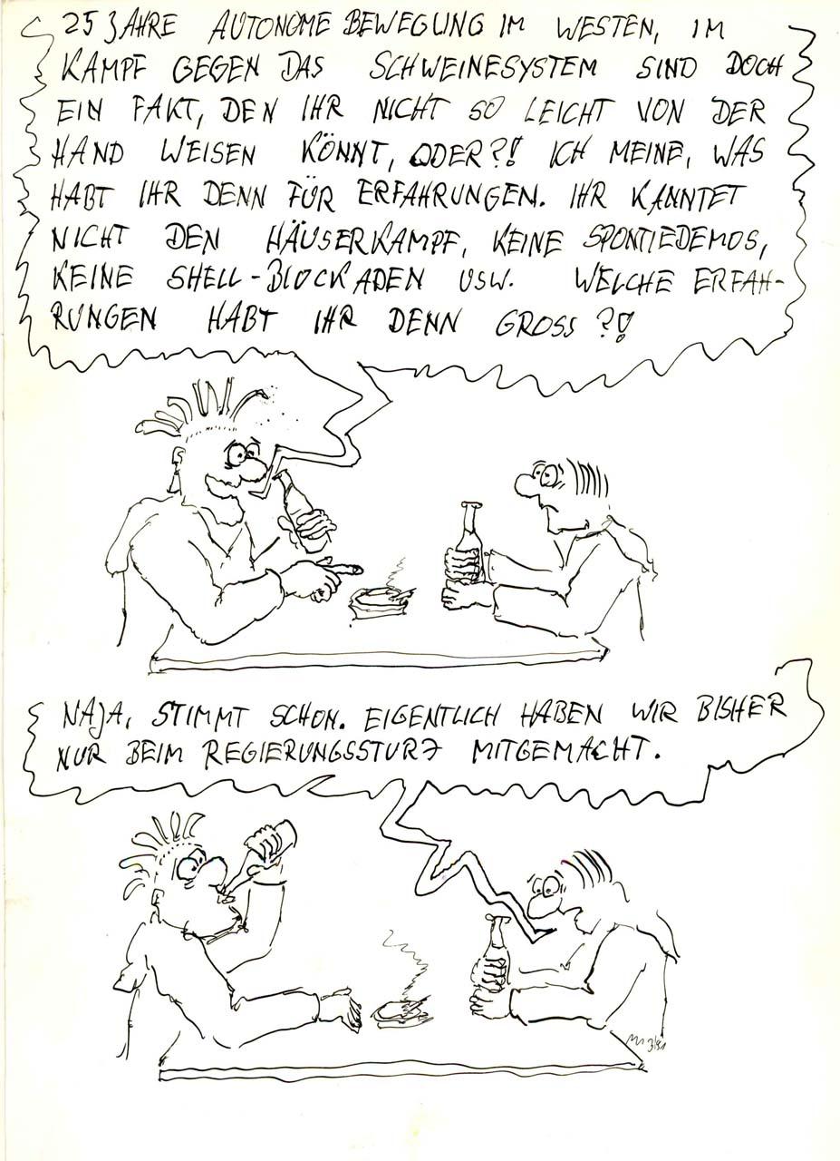 Ost- und Westerfahrungen 1991 bei BesetzerInnen Carton: Dirk Moldt
